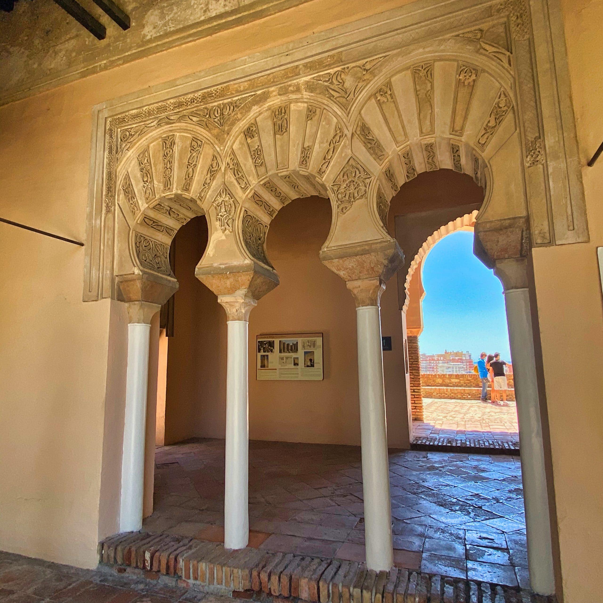 Moorish arches inside Alcazaba de Malaga