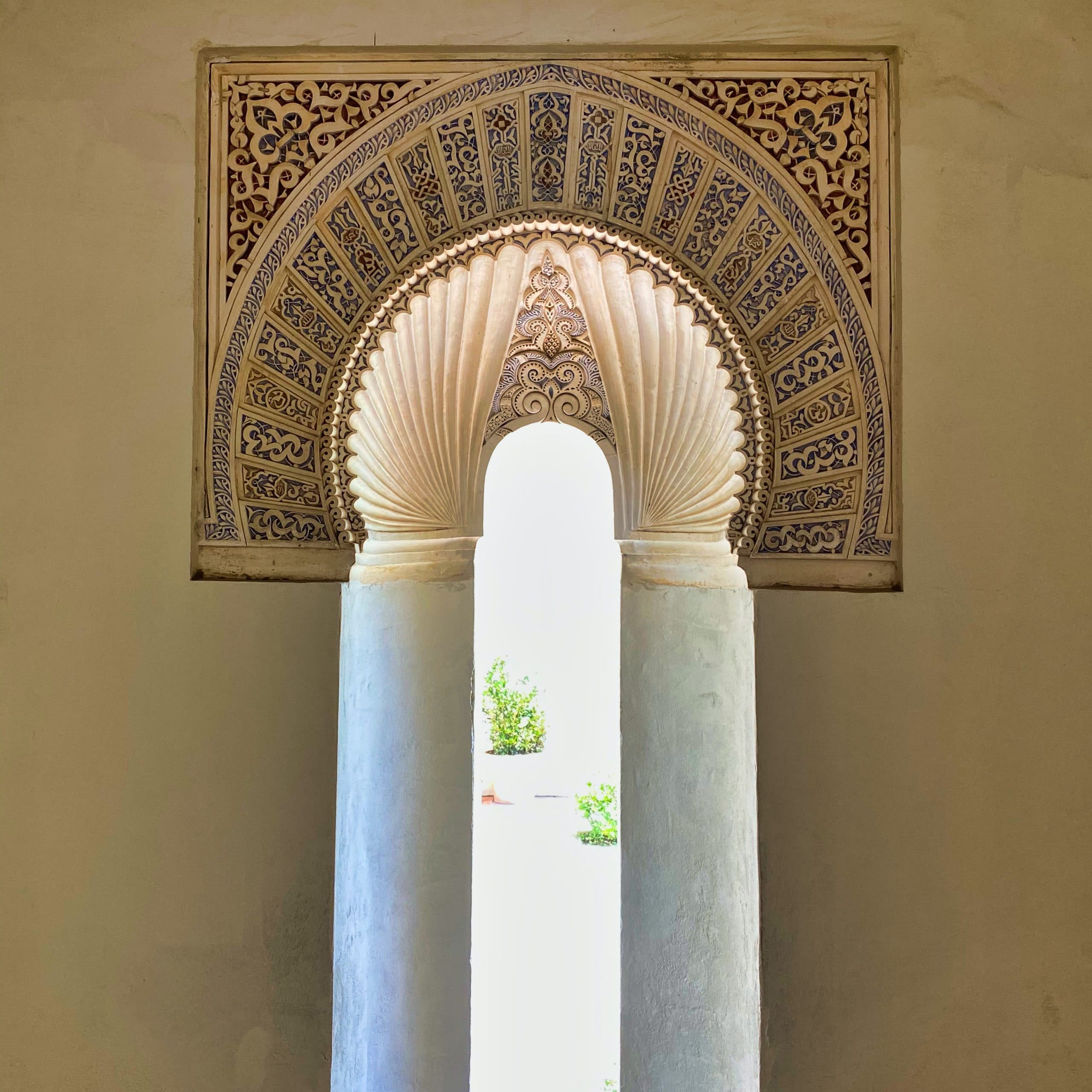 Moorish window inside Alcazaba Malaga