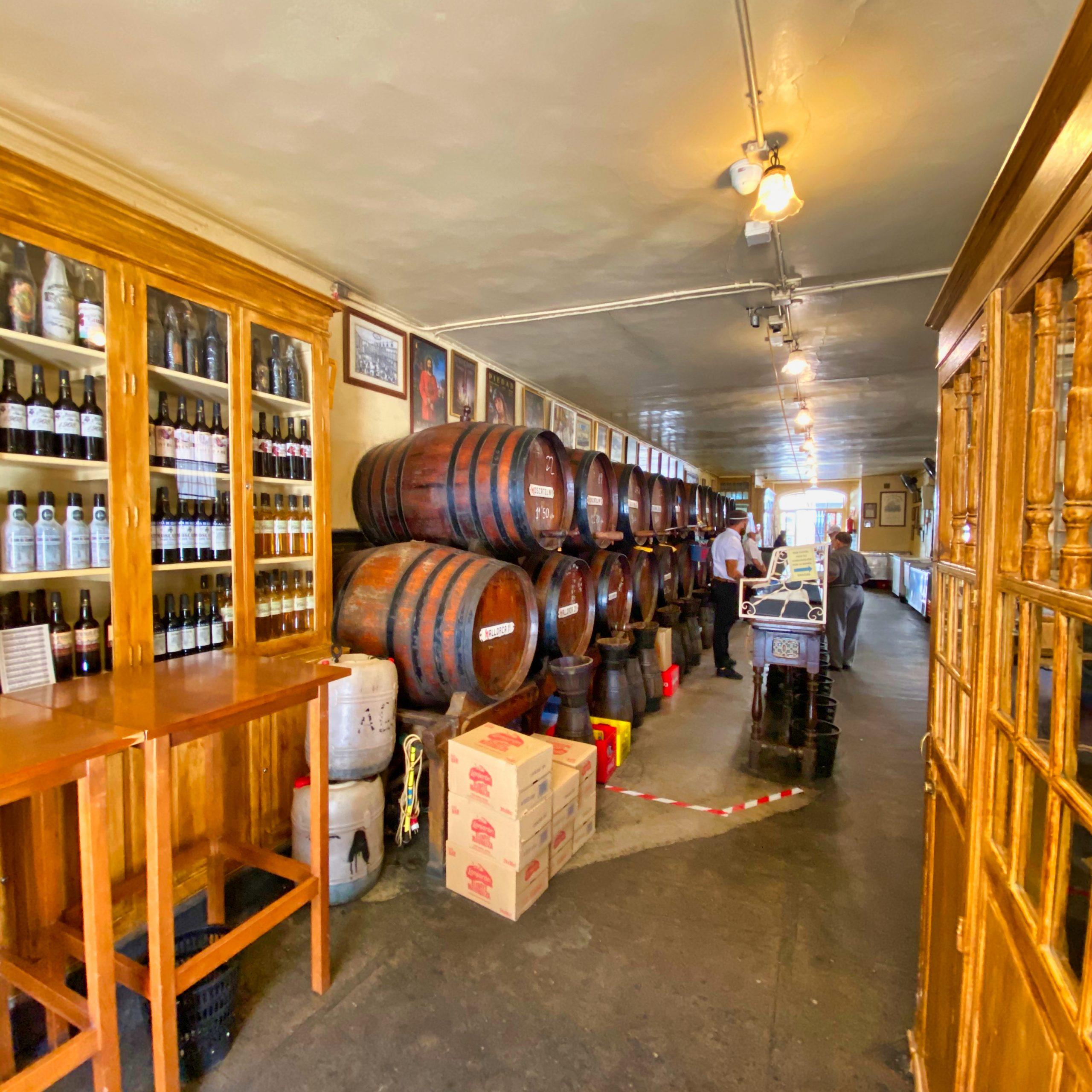 Interior oldest wine bar in Malaga