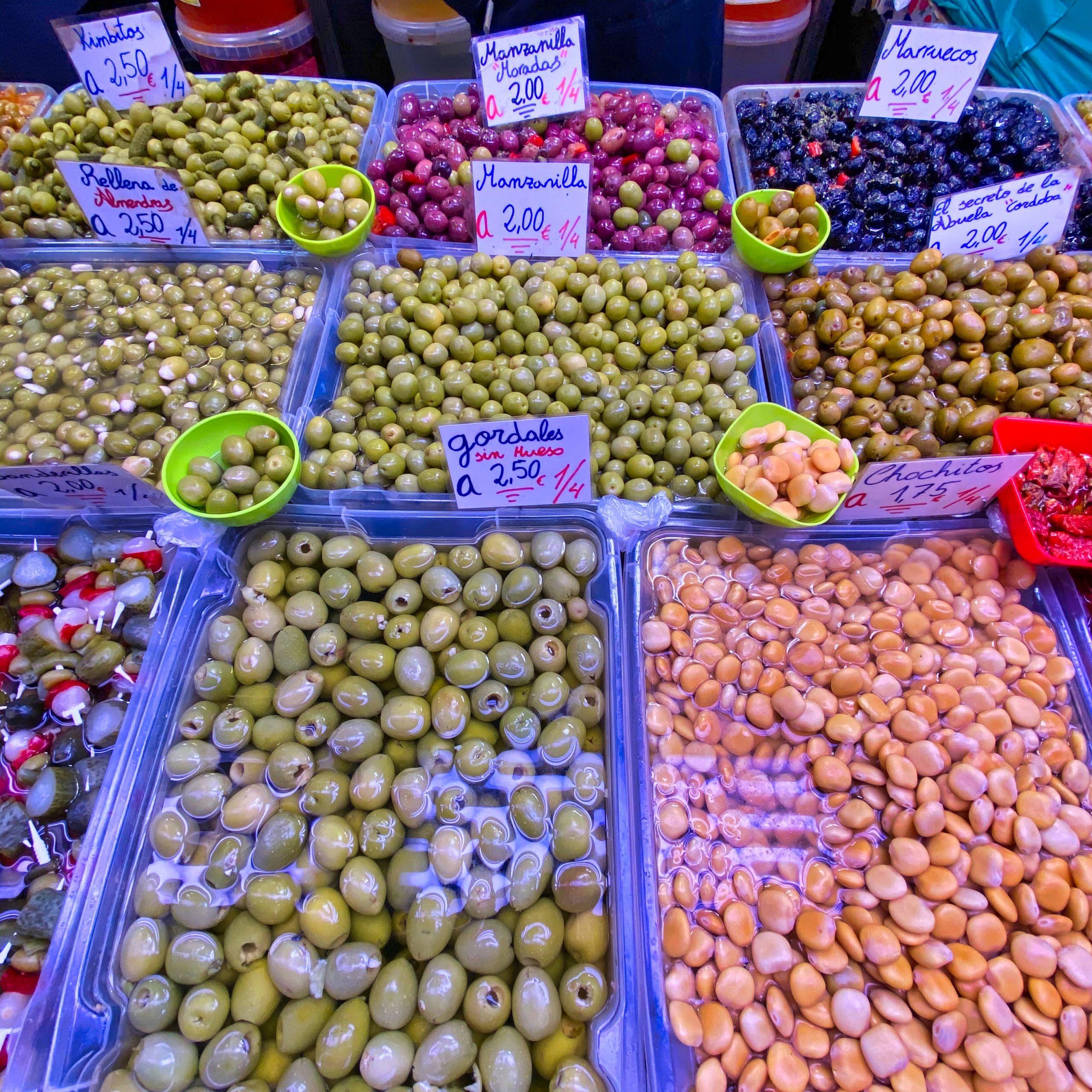 Olives inside Atarazanas market