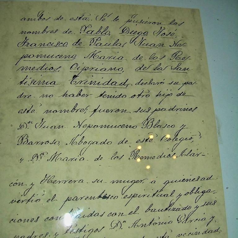 Picasso's birth certificate